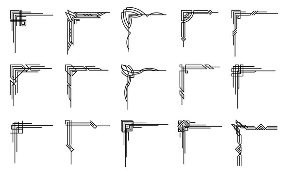 Art deco corners collection. Artwork graphic pattern. Orante wedding invintation element. Vintage retro style symbol design.Vector design object