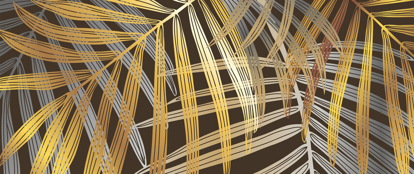 Luxury gold palm or Coconut leaf plant line arts background. Design for wall arts decoration, prints and fabric. Vector illustration.