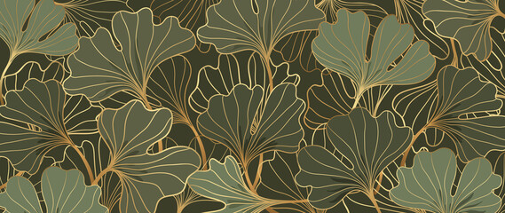 Luxury gold Ginkgo line art background vector. Abstract art design wallpaper.