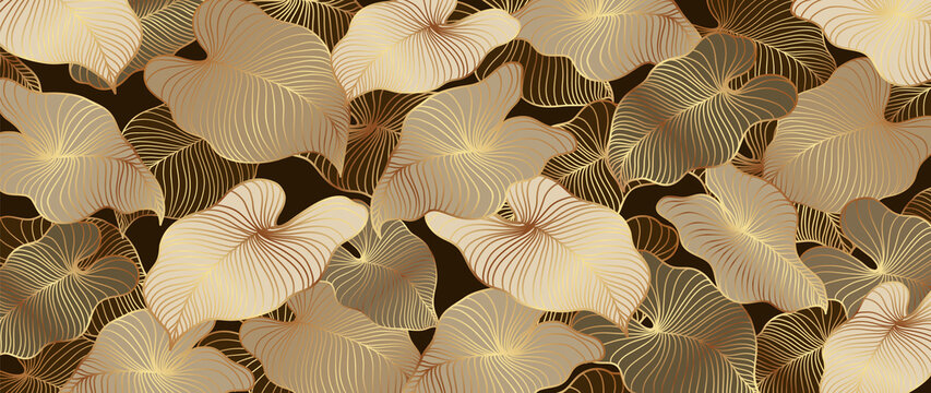 Luxury gold and nature brown background vector. Floral pattern, Golden split-leaf Philodendron plant with monstera plant line arts.