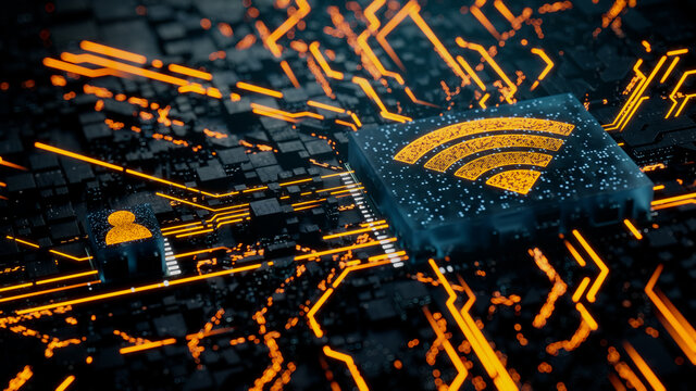 Wireless Technology Concept with wifi symbol on a Microchip. Orange Neon Data flows between the CPU and the User across a Futuristic Motherboard. 3D render.