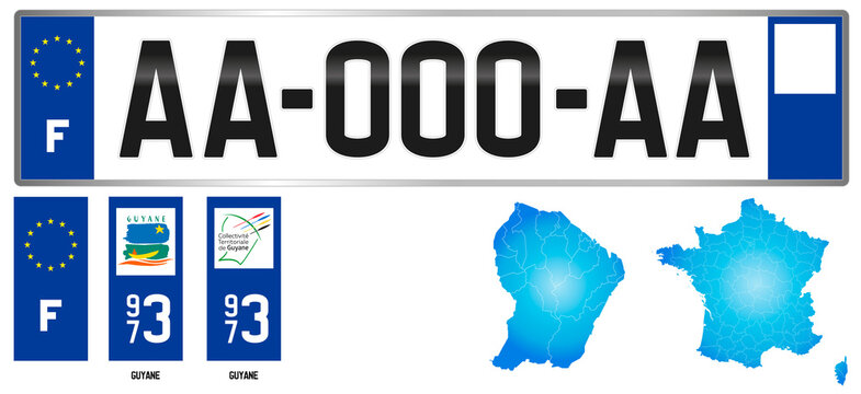 Guyane, France, french regional license plate template, detail of the side label of the department, vector illustration, example of numbering