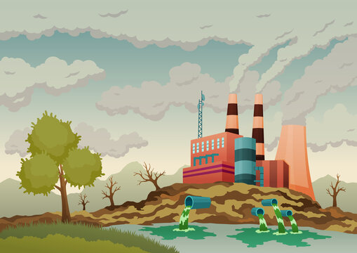 Factory plant smokes with smog, trash emission from pipes to river water. Landscape with nature ecology elements and ecology problem concept in flat style. Dirty waste water polluted environment