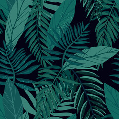 Seamless tropical pattern with exotic palm leaves and various plants on dark background.