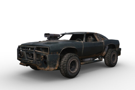 3D rendering of a post apocalyptic car isolated on a white background.