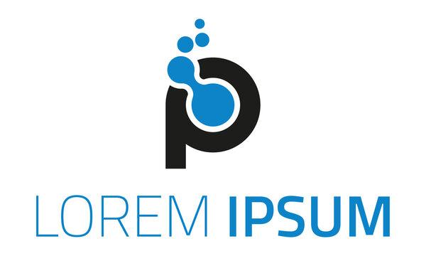 Blue and Black Color Connect Initial Letter P Logo Design