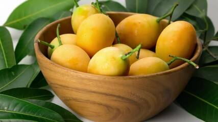 Fototapete - Close up scene falling of ripe sweet yellow Marian Plum into wooden bowl. Drop fresh ripe marian plum into wooden bowl on white background with leaves.