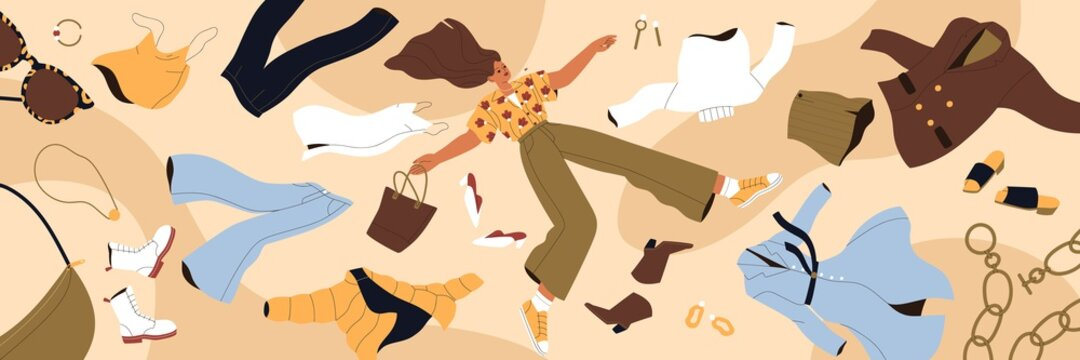 Woman shopaholic flying among clothes. Fast fashion, consumerism and overconsumption concept. Young lady with apparel, garment, purchases around. Colored flat vector illustration of wide banner