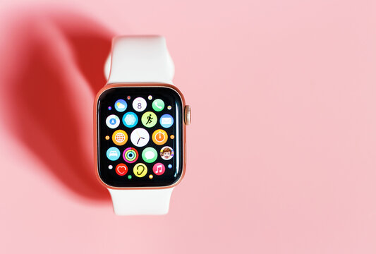 Seoul - 21.02.2021: Apple Watch on pink background close up, copy space