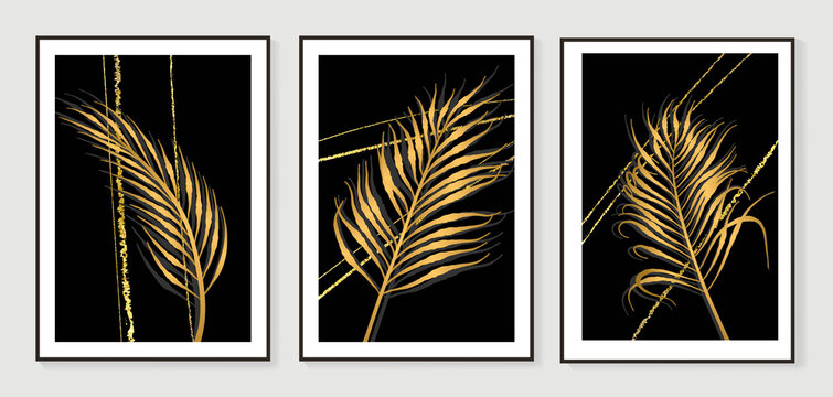 Luxury gold leaves wallpaper. Black and golden background. Wall art design with shiny golden palm leaves. Modern art mural wallpaper. Vector illustration.