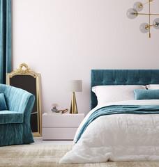 Fototapeta Luxury bedroom interior background, 3d render obraz