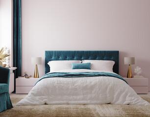 Obraz Luxury bedroom interior background, 3d render - fototapety do salonu