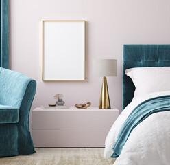 Obraz Mockup poster frame in luxury bedroom interior background, 3d render - fototapety do salonu