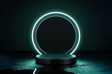 Fototapeta Green neon light product background stage or podium pedestal on grunge street floor with glow spotlight and blank display platform. 3D rendering.
