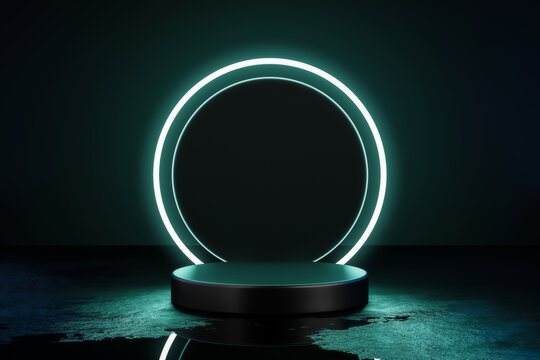 Green neon light product background stage or podium pedestal on grunge street floor with glow spotlight and blank display platform. 3D rendering.