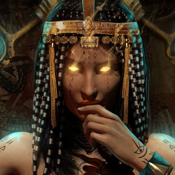 Portrait of an Egyptian pharaoh woman, she is a sorceress with bright yellow glowing eyes, she has gold jewelry and a tiara on her head, she playfully pulls her lips