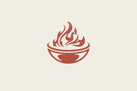 Grill silhouette with burning fire flame barbecue food preparation hand drawn stamp effect vector illustration.