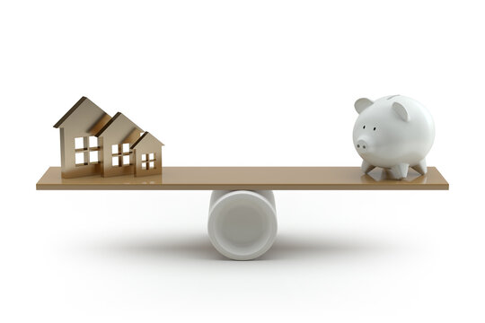 House on Seesaw Balancing with Piggy Bank on White Background. 3d Rendering