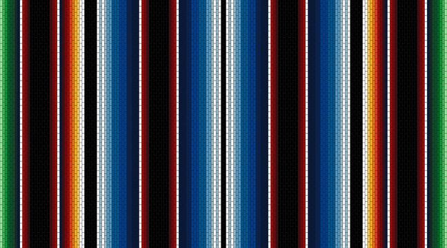 Ethnic textile background. Mexican stripe seamless pattern. Serape mexican blanket. Ornament for Cinco de Mayo fiesta decor. Ethnic, boho, western decor style.