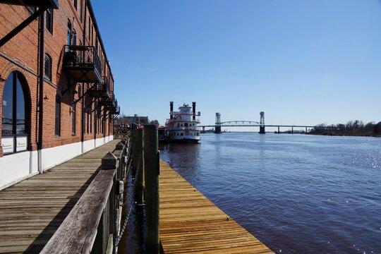 Wilmington USA - 8 March 2015 - Cape Fear River river front in Wilmington North Carolina USA