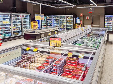 Huelva, Spain - April 1, 2021: Frozen area of a supermarket