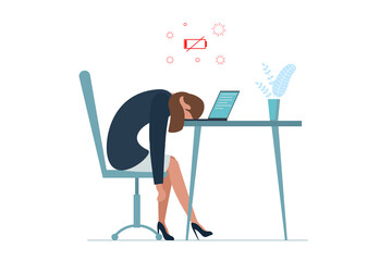 Businesswoman professional burnout syndrome. Exhausted sick tired female manager sit with head down on laptop. Sad boring woman. Frustrated worker mental health problems. Long work illustration
