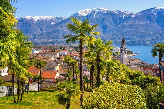 Ascona town on Lago Maggiore lake, Locarno, Switzerland