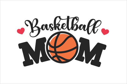 Text design Basketball mom A card saying I love mom with a heart shaped basketball ball.