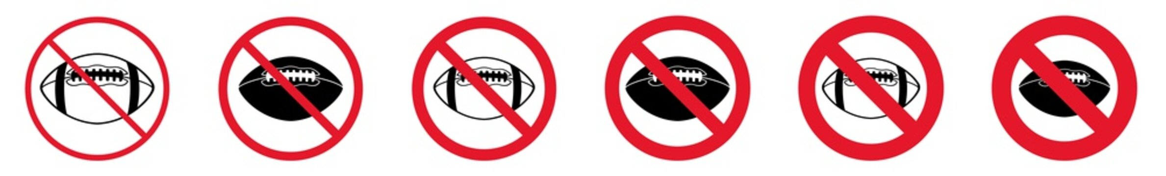 Prohibition Sign Football Forbidden Ball Icon Set   American Football Prohibition Signs Prohibited Vector Illustration Logo   American Football Prohibition Sign Isolated Collection