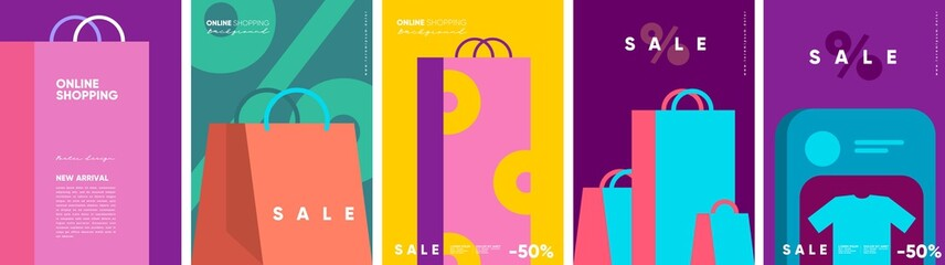 Obraz Online shopping and sale. Set of flat vector illustrations. Minimalistic background illustrations for sales, advertisements, coupons. Banner, poster, flyer. - fototapety do salonu