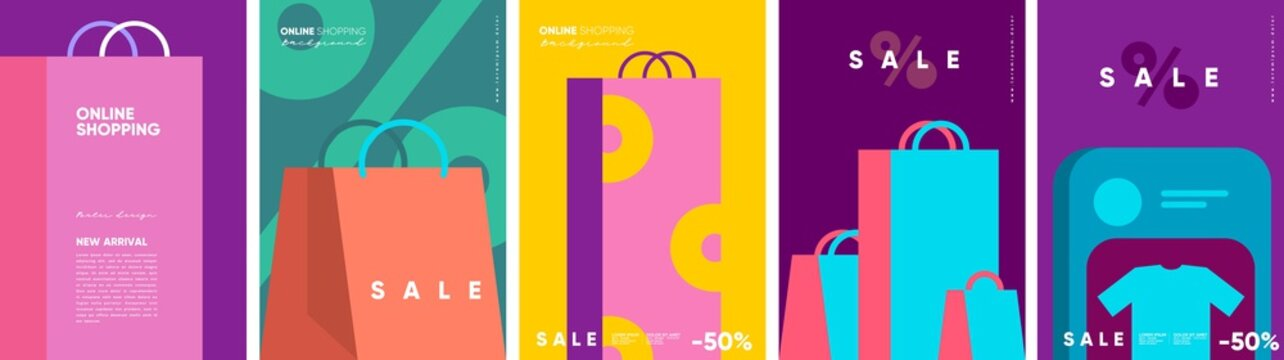 Online shopping and sale. Set of flat vector illustrations. Minimalistic background illustrations for sales, advertisements, coupons. Banner, poster, flyer.