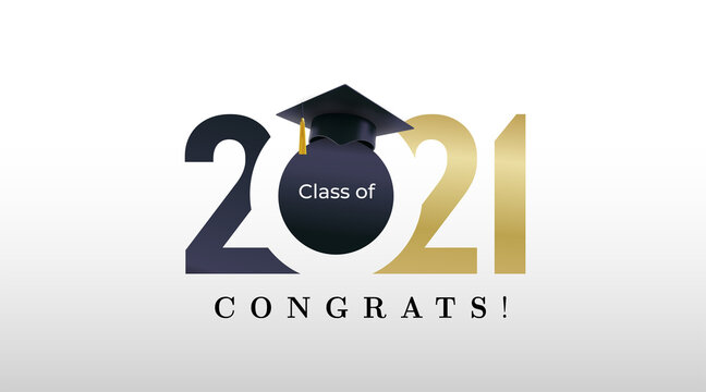 Class of 2021 graduation with golden numbers. Class of 20 and 21 congratulations graduate design with decoration gold beams for cards, invitations or banner. Vector. Isolated on white background.