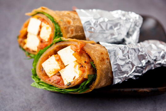 Paneer chapati Spring roll - Cottage Cheese with masala stuffed in flat bread & rolled, Indian food
