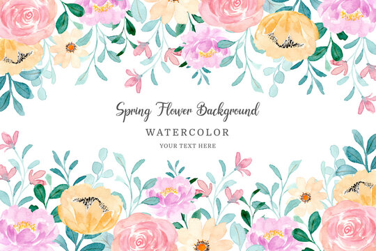 Spring flower frame. Colorful floral background with watercolor