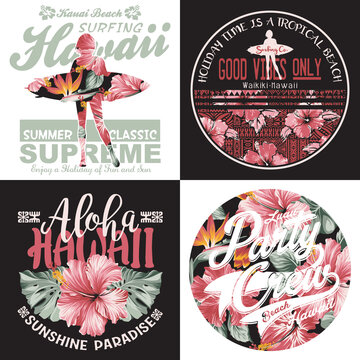 Hawaiian surfing girl and hibiscus flowers vector print collection for girl woman summer shirt