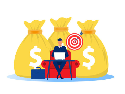 Businessman earning money from online business. profit Online business concept. Vector illustration