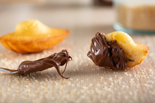French madeleine with chocolate