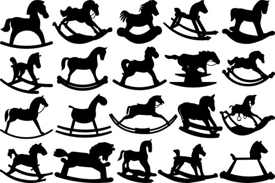 Rocking Horse SVG Cut Files | Toy Horse SVG | Little Horse Silhouette Bundle