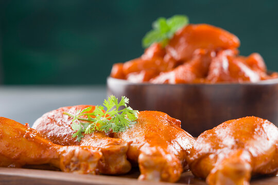 Raw marinated chicken