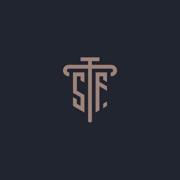 SF initial logo monogram with pillar icon design vector