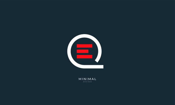 Alphabet letter icon logo QE or EQ