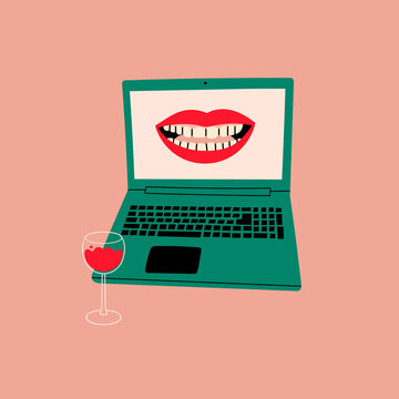 Laptop with smiling mouth on screen. Wine glass standing near the keyboard. Conversation, video call, videoconference, chatting, dating concept. Hand drawn Vector illustration