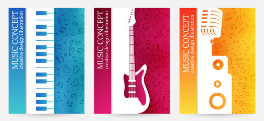Obraz Creative colorful music poster. Vector banners  with musical  instrument silhouettes and vibrant color textured background. - fototapety do salonu