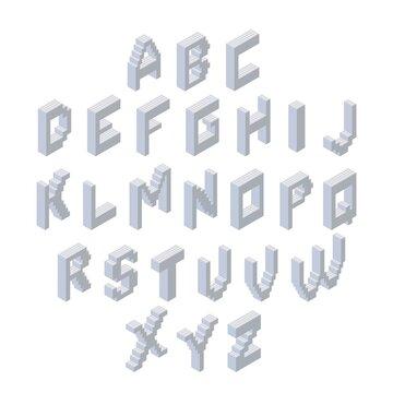 Alphabet set. Isometric 3d font made from plastic blocks. Vector illustration