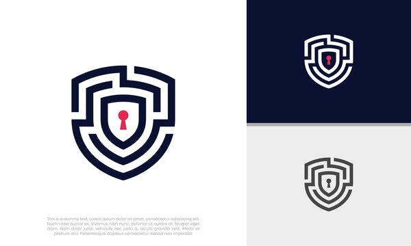 Shield Security logo symbol for technology. Labyrinth logo. Security Logo. Abstract analytic Logo.