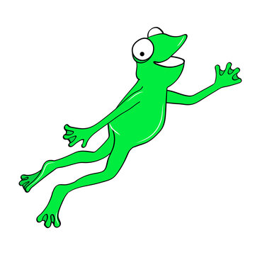 Happy funny frog jumping. Cartoon vector illustration isolated on white background.