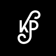 Obraz KP letter logo design on black background. KP creative initials letter logo concept. kp letter design. KP white letter design on black background. K P, k p logo - fototapety do salonu