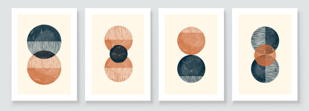 Abstract Organic Wall Art. Mid Century Modern Design. A trendy set of Abstract Hand Painted Illustrations for Wall Decoration, Social Media Banner, Brochure Cover Design. Minimal and Natural Wall Art.