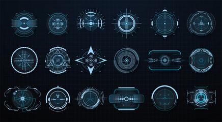 Obraz Futuristic optical aim. Military collimator sight, gun targets focus range indication. Gaming and hi-tech, cyberspace and gui design, electronic theme. HUD, GUI,UI technology future elements. Vector - fototapety do salonu