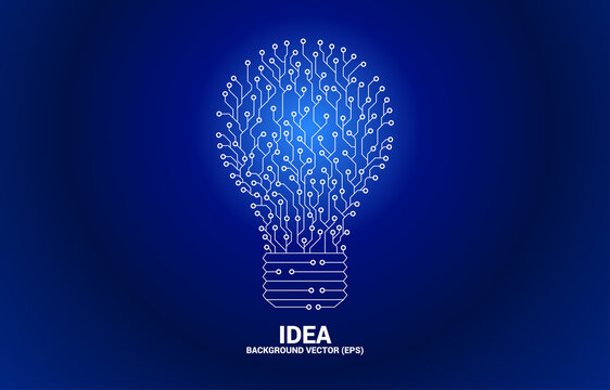Vector light bulb from dot connect line circuit board. Concept of business plan and creative idea.